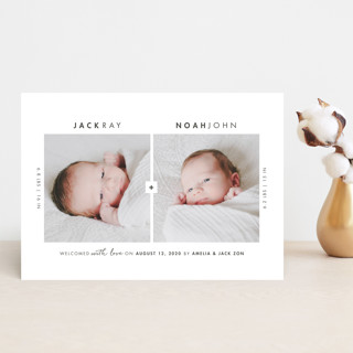 One Plus One Birth Announcement Postcards