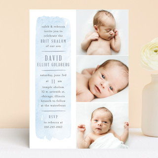 brushed stripe Bris and Baby Naming Invitations