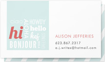 Hello Hello Hello Business Cards