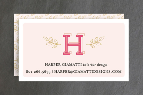 Leafy Initial Business Cards