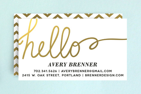 Gilded Hello Business Cards