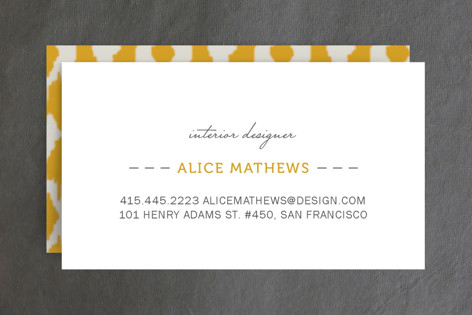 I need business cards minted to the rescue ikat design i love the pattern on the back and the simplicity of the front i think its the perfect combination and the yellow love colourmoves