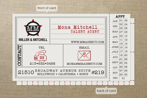 Vintage Hollywood Ticket Business Cards