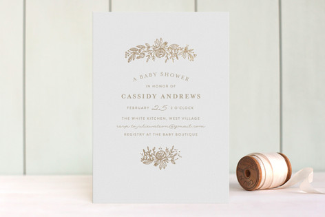 Perfect Posey Foil-Pressed Baby Shower Invitations