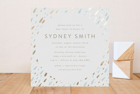 Chic Raindrops Foil-Pressed Baby Shower Invitations