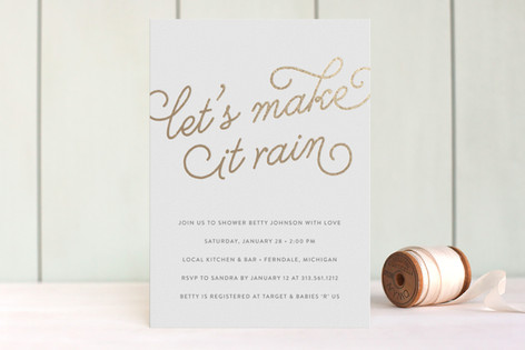 Let's Make it Rain Foil-Pressed Baby Shower Invitations