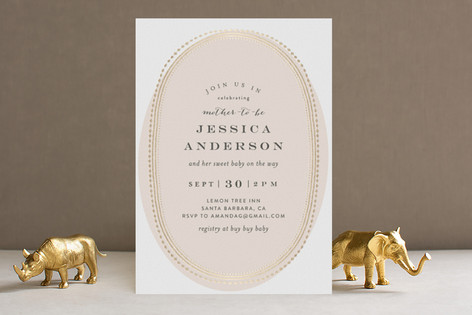 Gold Portrait Foil-Pressed Baby Shower Invitations
