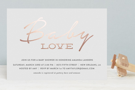 Simple Baby Love Foil-Pressed Baby Shower Invitations