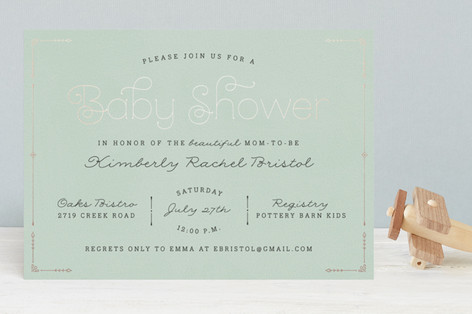 Blushing Brunch Foil-Pressed Baby Shower Invitations