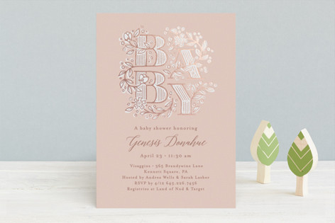 Illustrated letters Foil-Pressed Baby Shower Invitations