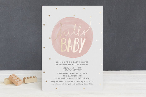 Hello Baby Foil-Pressed Baby Shower Invitations