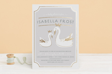 gilded swans Foil-Pressed Baby Shower Invitations