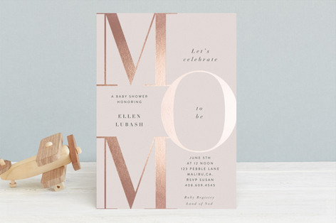 Runway Mom Foil-Pressed Baby Shower Invitations