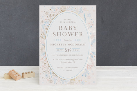 Fairytale Foil-Pressed Baby Shower Invitations