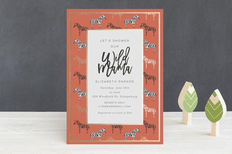 Maasai Mara Foil-Pressed Baby Shower Invitations