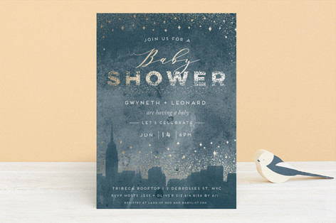 big city baby Foil-Pressed Baby Shower Invitations