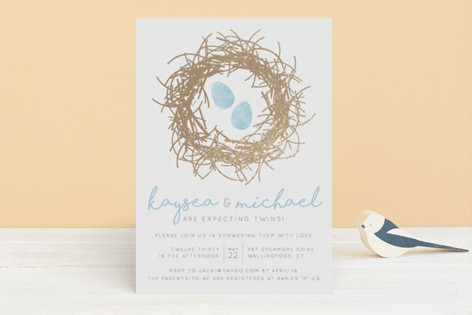 A Perfect Little Pair Foil-Pressed Baby Shower Invitations