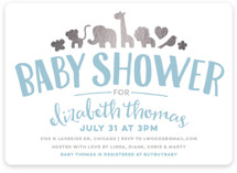 Fancy Zoo Foil-Pressed Baby Shower Invitations