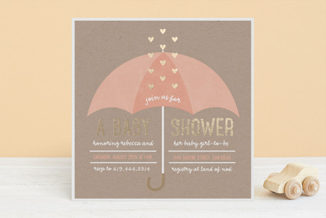 Showered with Love Foil-Pressed Baby Shower Invitations