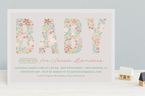 Spring Garden Foil-Pressed Baby Shower Invitations
