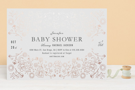 Flowers and Seeds Foil-Pressed Baby Shower Invitations