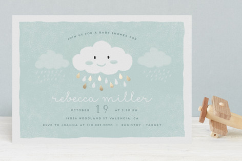Baby Boy Cloud Foil-Pressed Baby Shower Invitations