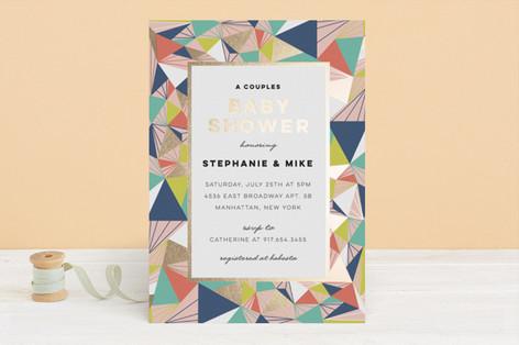 Geometric Frame Foil-Pressed Baby Shower Invitations
