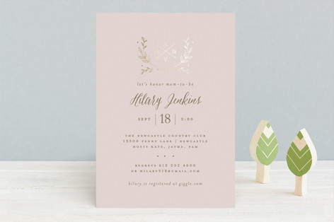 Baby Monogram Foil-Pressed Baby Shower Invitations