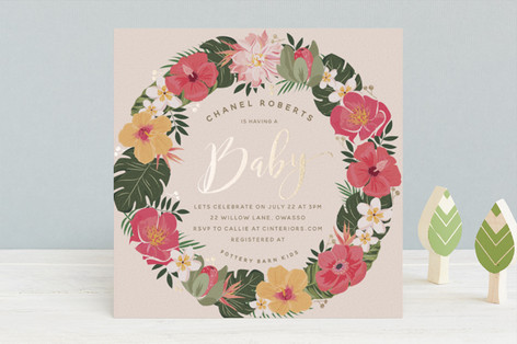 Tropical Shower Foil-Pressed Baby Shower Invitations
