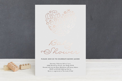 Sweetheart Foil-Pressed Baby Shower Invitations