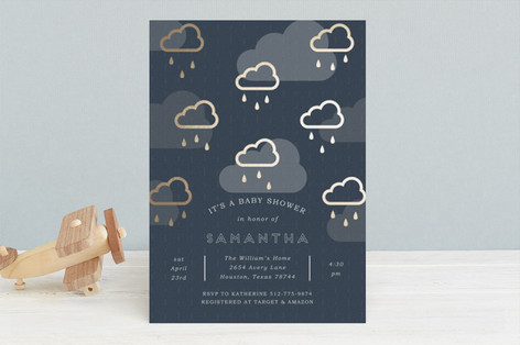 Rain Cloud Parade Foil-Pressed Baby Shower Invitations