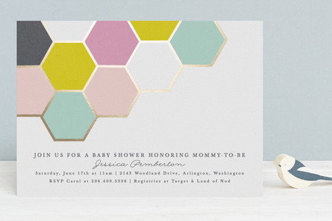modern honeycomb Foil-Pressed Baby Shower Invitations