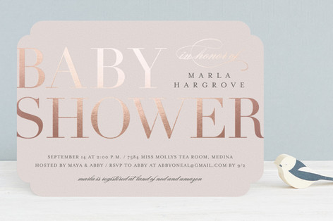 Baby Space Foil-Pressed Baby Shower Invitations