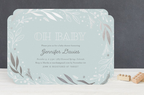 Festive Foil-Pressed Baby Shower Invitations