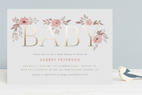 Bella Baby Foil-Pressed Baby Shower Invitations