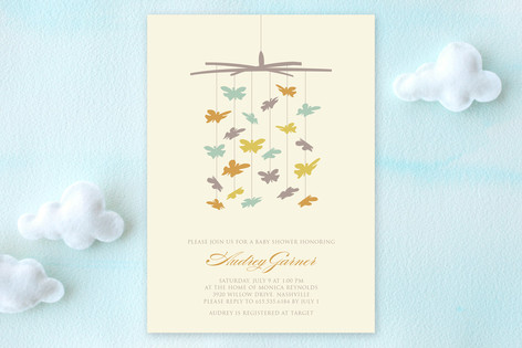 Butterfly Mobile Baby Shower Invitations