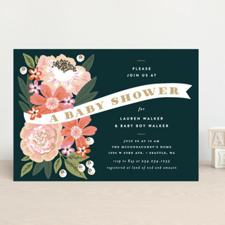 Floral Banner Baby Shower Invitations