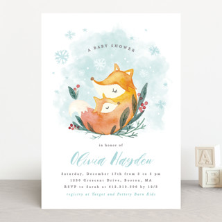 Foxy love Baby Shower Invitations