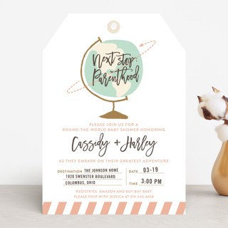 Round The World Baby Shower Invitations