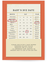 Baby's Due Date Baby Shower Invitations