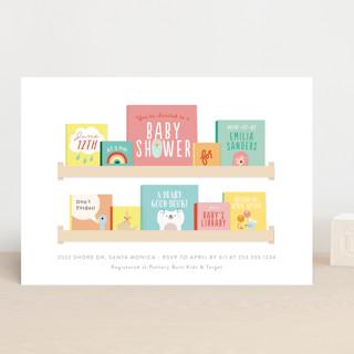 Modern Book Shelf Baby Shower Invitations