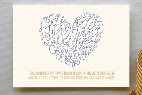 Written on Her Heart Baby Shower Invitations