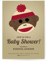 Sock Monkey Baby Shower Invitations