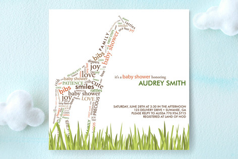 Baby Giraffe Baby Shower Invitations