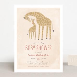 Giraffe Love Baby Shower Invitations