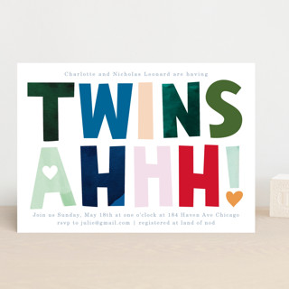 Twins Ahhh Baby Shower Invitations