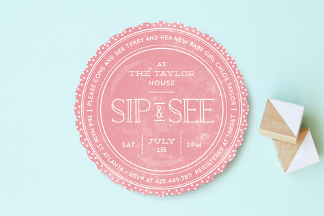 Sweet Sip And See Baby Shower Invitations