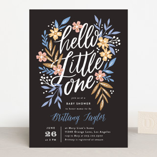 Hello Little One Florals Baby Shower Invitations