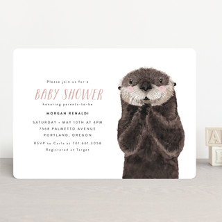 Baby Animal Sea Otter Baby Shower Invitations