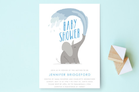 Happy Elephant Baby Shower Invitations